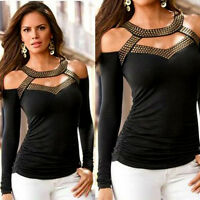 Sexy Moda da Donna Maniche Lunghe Spalla Scoperta T-Shirt Casual Camicetta Top
