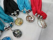 *US SELLER*wholesale lot 10 scarves lampwork glass pendant charm scarf necklace