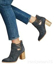 NEW SZ 8 ANTHROPOLOGIE WRAPPED STRAP BOOTIE GREY SUEDE HEELED ANKLE BOOTS