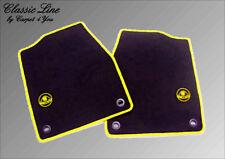 Black velours floor mats for Lotus Elan M100 1989-1992 Logo yellow