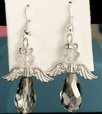 ANGEL EARRINGS~WITH A RHINESTONE HALO & BRIGHT SILVER WINGS & CLEAR BODY