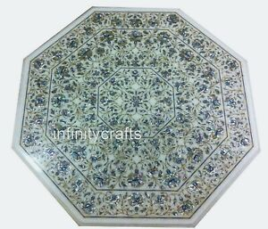 """Octagon Marble Dining Table Top Inlay Art Floral Pattern Center Table 42 x 42"""""""