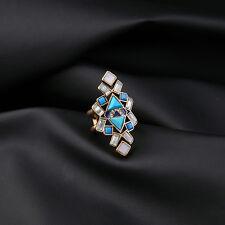 Bague Doré Art Deco Floral Ethnique Turquoise Bleu Vintage Mariage  Class T53 Z1