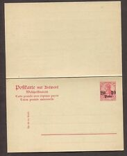 GERMAN OFFICES IN TURKEY 1900's 20 PARA ON 10PF PS REPLY CARD MI #P12