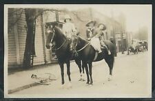 OR Salem RPPC 1910's STREET SCENE Stylish Mother and two Kids on HORSEBACK