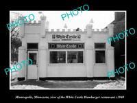 OLD HISTORIC PHOTO OF MINNEAPOLIS MINNESOTA, WHITE CASTLE HAMBURGER STORE c1940