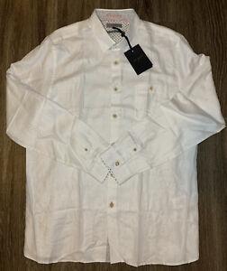 NWT Ted Baker Long Sleeve Linen Blend Shirt White Mens Size 6 2XL Tall $175
