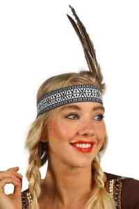 Stirnband mit Ethno Muster und 2 Gänse Federn für Indianerin-Kostüm Kopfschmuck