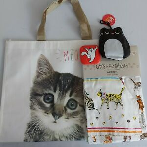 cat's in the kitchen apron meow bag foldable shopping bag cat mirror gift bundle
