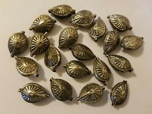 20 Pcs VTG Antique Silver Textured Metal Large Teardrop Beads Crafts Jewelry