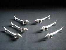 6 Porte couteaux chiens bassets en métal argenté