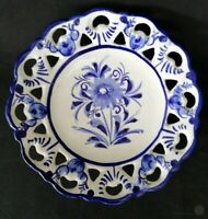 Blue And White Pierced Pottery Hanging Plate • Portugal 276 | FREE Delivery UK*