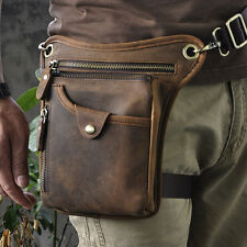 Men Leather Hunting Travel Organizer Fashion Fanny Belt Waist Pack Leg Bag Pouch