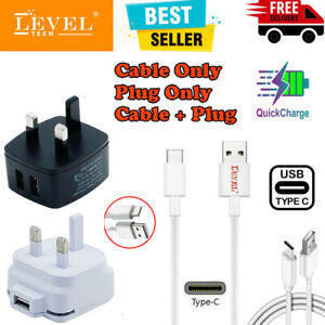 Dual & Single Port Fast Charger Plug + 1M Fast USB Type C Data Sync Cable Lead