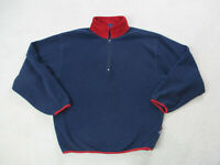 VINTAGE Nautica Sweater Adult Large Blue Red Quarter Zip Pullover Mens 90s