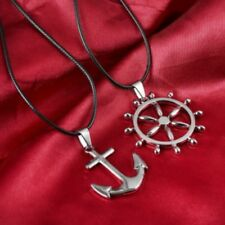Stainless Steel Couple's Anchor & Wheel Pendant Necklaces
