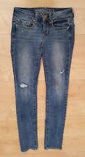 AE American Eagle Stretch Skinny Jeans Size 00 Womens distressed/destroyed holes