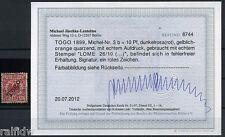 Togo 10 Pfg. Adler 1899 dunkelrosa(rot) Befund (S6986)