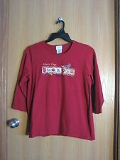 Sonoma Life+Style Womens Dk Red 'School Days' Top/Shirt Size Medium