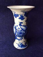 Chinese Qing Dynasty Kang Xi Year Phoenix Drawing Blue White Porcelain Vase