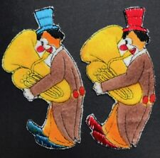 Meraviglioso Vintage 1950 S Applique/Patch... BIG CLOWN CON BIG Tuba-Alto 13 cm