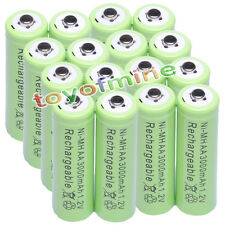 16x AA 1.2V 3000mAh Ni-MH rechargeable battery 2A cell /RC Green