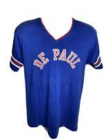 Vintage 80s De Paul University T Shirt Men's Size XL Blue