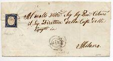 ANTICHI STATI 1861 SARDEGNA FRANCOBOLLO DA 20C. AZZURRO GRIGIO SU BUSTA D05715