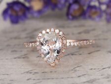 Ct Pear Simulant Pink Morganite Diamond Halo Engagement Ring Silver Rose Gold FN