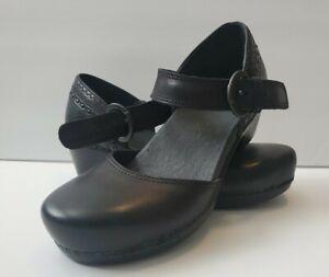 Dansko Makenna Black Full Grain Leather Ankle Strap  Size 36 / 6