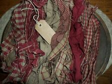 100 Prim Homespun Fabric Strips & Hang Tag...Cinnamon~Vanilla Scented...Red!