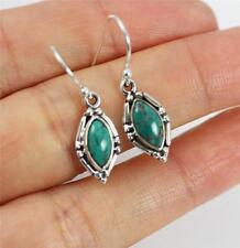 Pretty Turquoise Solid 925 Sterling Silver Dangle / Drop Earrings jewellery 925