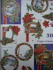 3D A4 Christmas Paper Tole Snow  Log Fire Xmas Tree NEW
