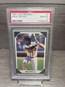 1991 Leaf Preview Dave Justice PSA Gem MT 10 Card #1 Atlanta Braves