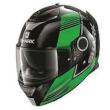 SHARK SPARTAN ARGUAN BLACK/GREEN KGS MOTORCYCLE HELMET - MEDIUM (M)