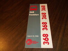 MARCH 1980 CHICAGO RTA ROUTE 368 FRANKFORT BUS SCHEDULE