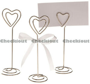 24 48 96 Heart Shape Photo Name Card Wedding Table Decoration Wire Clip Holder