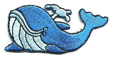 "Whale - Blue Whale - Embroidered Iron on Patch - 2.5""W (6.3cm)"
