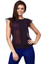 Klassische Kurzarm Damenblusen, - tops & -shirts im Blusen ohne Kragen-Stil