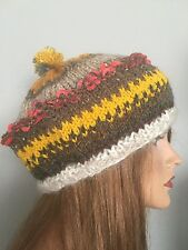 Hand Knit Beanie Slouch Hat Boho Hip Designer Fashion Multicolor Winter Women