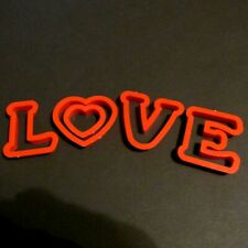 Vintage LOVE Cookie Cutter Set 5 Pc Red Plastic Letters Valentines Day Wedding