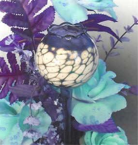 Gießkugel Glas blau Einschmelzung weiss Bewässerungskugel Wasserspender 5 Größen