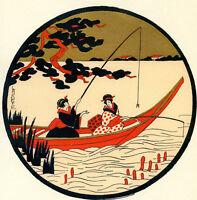 1930s French Pochoir Print Art Deco LAFUGIE Japanese Geisha Fishing Boat