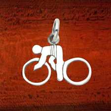 Sterling Silver Bicycle and Rider Pendant/Charm