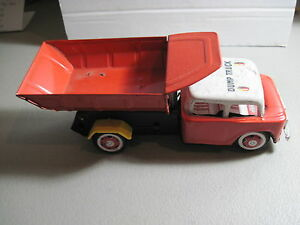 Vintage STI Dump Track Tin Litho Toy Cars