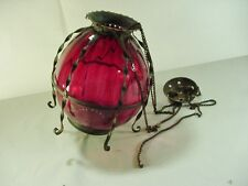 Antique Victorian Cranberry Glass Shade Hanging Oil Lamp -- 1800s - Needs TLC