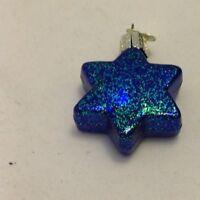 MERCK OLD WORLD CHRISTMAS ORNAMENT MIDNIGHT BLUE GLITTERY PATRIOTIC STAR OWC
