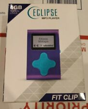 "Eclipse Fit Clip MP3 Player 4 GB Purple/Teal 1"" LCD Plays MP3 & WMA Files NEW"