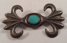 Vintage Indian Sterling Silver Sand Cast Turquoise Pin Brooch