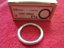 Vintage Covert Square Brand 1 1/8 Welded Steel Rings, Box Of 10, New Old Stock